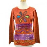 Flower Power Hippie Long Sleeve T-Shirts S-M Russet
