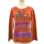 Flower Power Hippie Long Sleeve T-Shirts S-M Russet