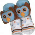 Owl Rattle Socks - Blue