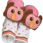 Owl Rattle Socks - Pink