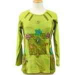 Patchwork Hippie Long Sleeve T-Shirt  Olive-Eggplant