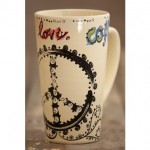 Peace Love Coffee Boho Latte Mug