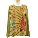 Sunburst Hippie Long Sleeve T-Shirt S-M Taupe