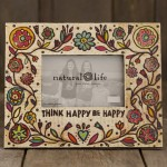 Think Happy Be Happy Art & Soul Wood Frame
